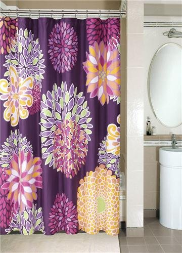 Large print stylish and modern purple floral shower curtain