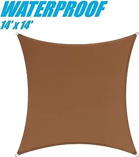 ColourTree 14' x 14' Brown Waterproof Heavy Duty100% BLOCKAGE 220 GSM Sun Shade Sail Canopy