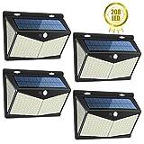 Luz Solar Exterior 208 LED, Luces LED Solares Exteriores con Sensor de Movimiento y 3 Modos de Iluminación, 270º...