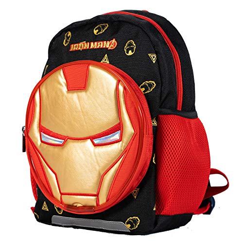Iron Man Face Marvel Avengers Hero Backpack with LED Lights (Black)