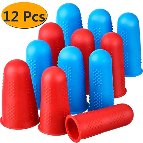 Silicone Finger Protectors 12 Pieces Finger Protectors Hot Glue Gun Finger Caps for HotGlue Sewing Wax Rosin Resin Honey Adhesives Scrapbooking in 3 Sizes(Red and Blue)
