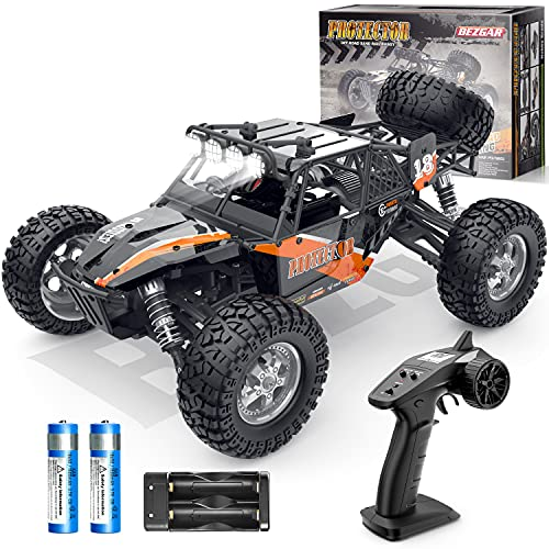 BEZGAR 3 Hobby Grade 1:12 Scale Beginner RC Trucks, 4WD High Speed 42 Km h All Terrains Electric Toy Off Road Sand Rall Buggy RC Truck with Rechargeable Batteries for Boys Kids and Adults