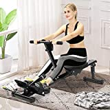 Home Rowing Machine, Multifunctional Folding Design Adjustable Resistance Air Rowing Fitness Exercise Equipment with Digital Indicators for Private Gyms, Aerobics, Home Strength Exercises Black