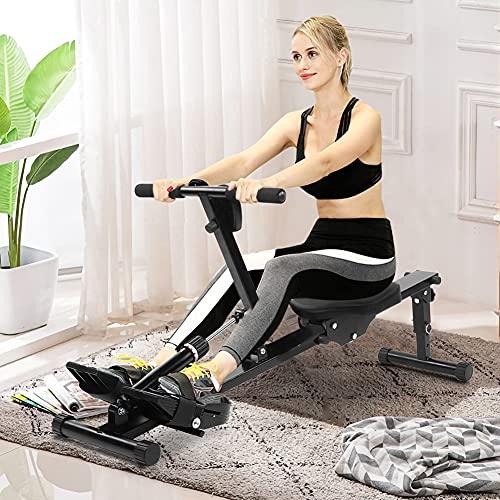 AYNEFY Fitness Rudergerät,Sport Rudergerät Rudergerät für zuhause Home Faltbares Fitness-Rudergerät Einstellbarer Widerstandsruder mit Digitalanzeige