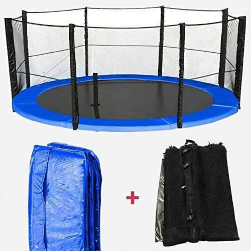 We R Sports 6ft, 8ft, 10ft, 12ft, 14ft, 16ft Replacement Trampoline Spring Cover Padding & Safety Net Bundle (12ft Net & Pad (8 Poles))