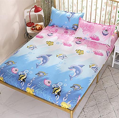 XLMHZP Funda de colchón transpirable y agradable al tacto con estampado protector de cama transpirable suave para colchón individual cama doble, niños de 10 x 200 cm + 25 cm