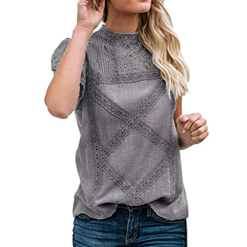 Camisetas Mujer SHOBDW Dia de la Mujer Verano Patchwork De Encaje Casual Ahuecar Volantes Manga Corta Suéter De Cuello De Tortuga Linda Blusa Floral Camiseta Blanca para Mujer (S, Gris)