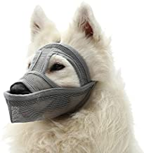 Mayerzon Dog Muzzle, Breathable Mesh Muzzle for Biting, Licking Wound and Unwanted Chewing, 6 Sizes for Small, Medium and Large Dogs, Able to Drink and Feed (S, Grey)