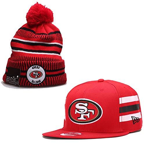 fanwenfeng par de fútbol americano ajustable unisex adulto gorra plana y Huset mantener caliente sombrero de punto (San Francisco 49ers)