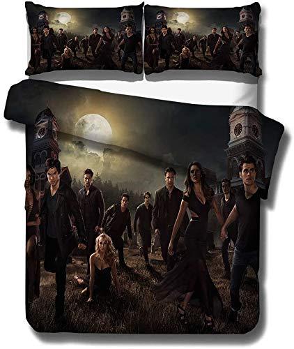 NBAOBAO The Vampire Diaries Bettwäsche-Sets Ultraweiche 3D-Druck-Bettbezug-Set aus Mikrofaser 3-teilig, einschließlich 1 Bettbezug 2 Kissenbezug80 x 80 cm (Vampir 03, 135x200cm+80x80cmx2)
