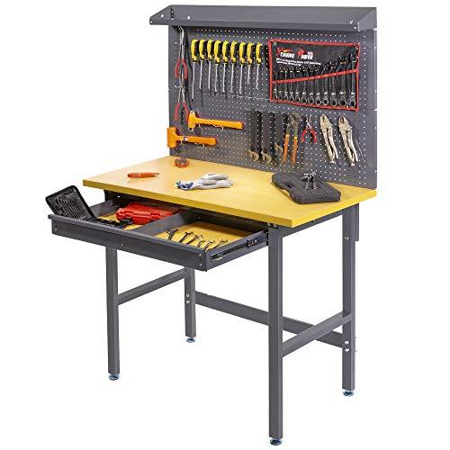 XtremepowerUS 48'' Multipurpose Garage Workbench Bamboo Tabletop Work Bench Work Table Tools Storage Workshop Pegboard Organizer Drawer, 500 Lbs Weight Capacity