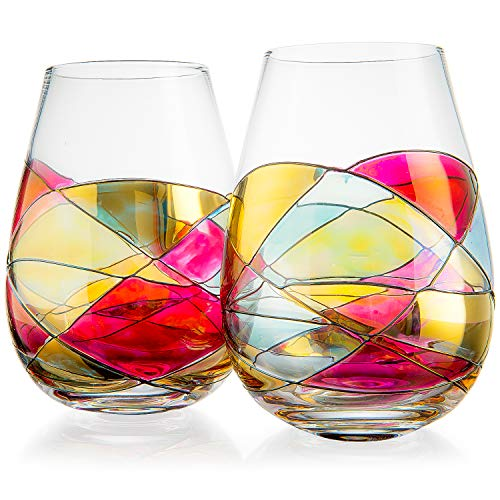 Artisanal Hand Painted Stemless - Rennesance Romantic Stain-glassed Windows Wine Glasses, By The Wine Savant - Set of 2 - Gift Idea for Her, Him, Birthday, Mom, Housewarming - Extra Large Goblets