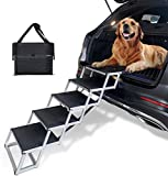 COLORFEY Dog Ramp Stair Steps - Upgrade 5 Steps Large Dog Ramp Lightweight Foldable Dog Stair Aluminum Telescoping Pet Ramp for Car Boot and Trucks, Support Height 75-89cm (Black)