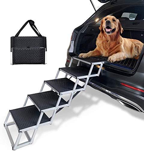 COLORFEY Hunderampe klappbar Hundetreppe für große Hunde Aluminium-Teleskop Hundeautorampe für Haustiere, rutschfest, bis 80 kg, Hunde-Treppe 5 Schritte für Höhe 75-89cm