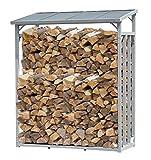 QUICK STAR Aluminium Kaminholzregal 130 x 70 x 185 cm Garten Kaminholzunterstand 1,6 m³ Kaminholzlager Stapelhilfe Aussen