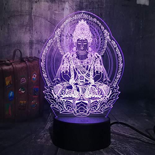 KangYD 3D Nachtlicht/Buddha 7 Farbe Nachtlicht 3D Led Bulbing Lampe Herz Visuelle Illusion Kinder...