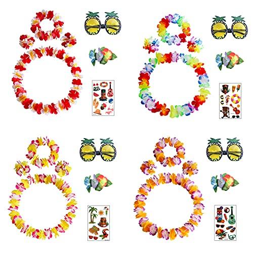 Guirlande Fleurs Hawaïennes Composées de 4 Colliers,4 Couronnes,8 Bracelets,4Lunettes de Soleil Tropicales et 4 Tatouages,en Couleurs Variées(24pcs)