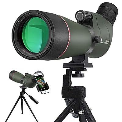 Landove 20-60x80 Zoom Spotting Scope - HD 24mm BAK4 Angled Big Eyepiece Dual Focus Telescope Digiscoping Adapter - Waterproof Scope for Bird Watching Wildlife Target