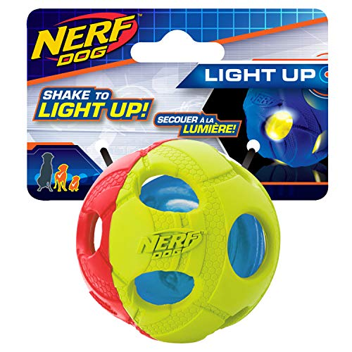 Nerf Perro 3530pequeño 2Colores LED Bola de Bash, Mascota Squeak Juguete
