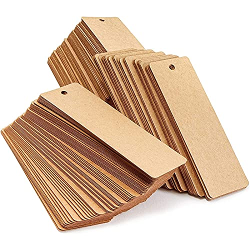 300 Pack Blank Bookmarks Bulk Kraft Paper with Hole for Craft, DIY & Gift Tags (6x2 in)