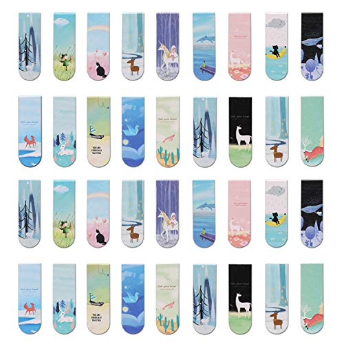 Aliyaduo Magnetic Bookmarks 36 Pieces Cute Magnetic Page Marks Cute Animal Student Reading Tools Cute Creative Gifts for Students and Children
