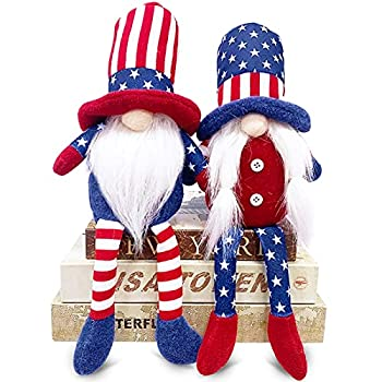 TURNMEON 2 Pcs Patriotic Gnomes Plush 4th of July Decorations Uncle Sam Tomte Stars Stripes Doll Scandinavian Ornaments for Memorial Day Independence Day Decor Home Kitchen Household Table Figurines