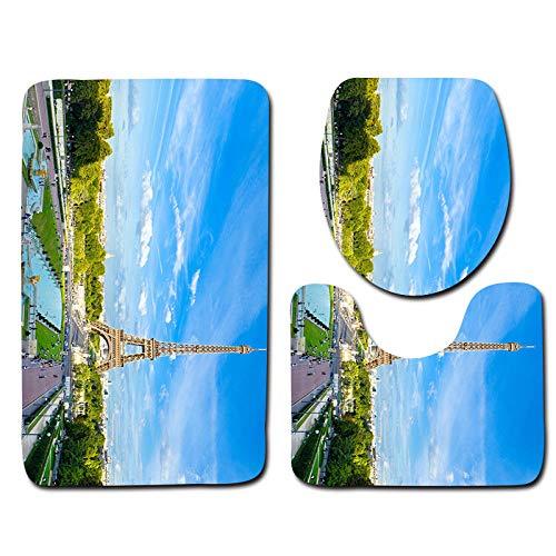 Juego de 3 Alfombrillas de baño Torre Eiffel Antideslizantes Absorbente Juego de Alfombrillas de baño+Alfombrilla de pie+Funda de Asiento de Inodoro extraíble