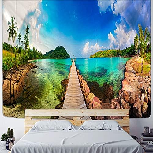 PPOU Tapiz de habitación con Vista al mar, Tapiz de Playa con árbol de Coco para Colgar en la Pared, Tapiz Bohemio para decoración del hogar A10, 180x200cm