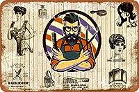 理髪店08さびた錫のサインヴィンテージアルミニウムプラークアートポスター装飾面白い鉄の絵の個性安全標識警告アニメゲームフィルムバースクールカフェ40cm*30