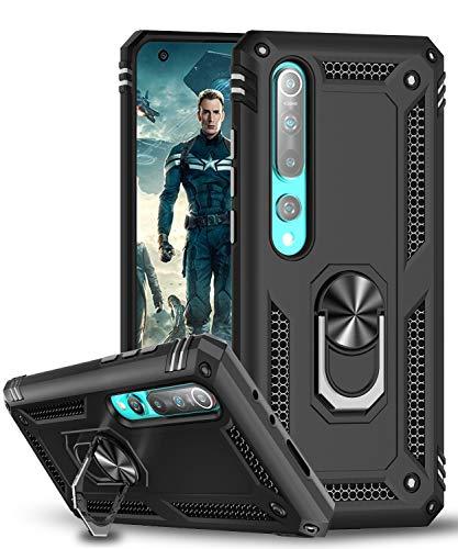 LeYi Funda Xiaomi Mi 10 / MI 10 Pro,Armor Carcasa con 360 Grados Anillo iman Soporte Hard PC y Silicona TPU Bumper Antigolpes Case para Movil Mi 10,Negro