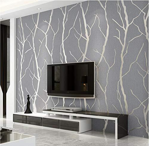 Modernes Design Vliestapete 9,5 m x 0,53 m Beflockung 3D Elegance Tapete für Schlafzimmer Wohnzimmer TV Hintergrund Wand Büro Wanddekoration(Silber grau)
