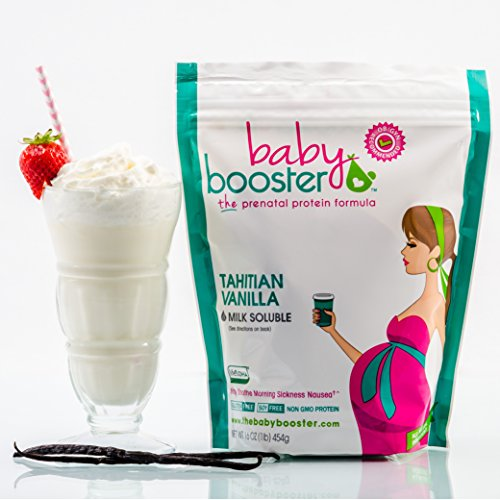Prenatal Vitamin Supplement Shake - Baby Booster Tahitian Vanilla - 1lb bag - OBGYN Approved - All Natural - Tastes Great - Vegetarian DHA - High Protein - Folic Acid - B6 - Great for Morning Sickness