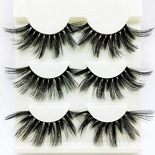 Drag Queen Lashes stage Exaggerated Fancy Dress False Eye Lashes Fluffy Thick Mink Handmade Long (Schwarzes 3 Paare)