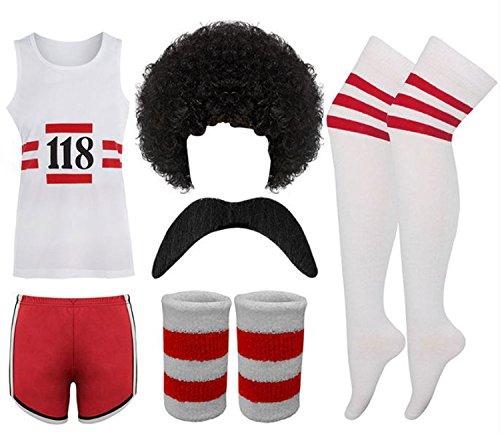 118 Ladies / Men's Fancy Dress Costume Marathon Retro Vest Shorts Tash Socks Lot (Men: One Size, 6 Piece Set)