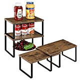 Kitchen Cabinet Shelf Organizers Wooden Counter Top Organizer Racks for Kitchen, Cabinet, Multipurpose Pantry Spice Rack, Stackable & Expandable Storage, 4 Pack