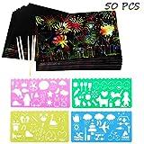 STKYGOOD Rainbow Scratch Paper 50 Pcs Scratch Art Paper Rainbow Sketch Pad Black Doodle Pad Scratch Painting Black Scratch Paper with 5 Wooden Stylus 4 Drawing Molds