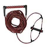 DockMoor 75 FT Wakeboarding Lines with Comfortable EVA Covered Handle Watersports Rope Adjustable Length for Kneeboard, Water Ski Red/Black