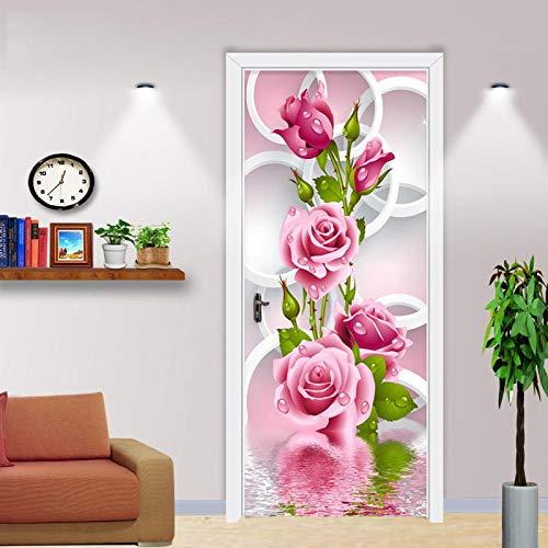 Papel Pintado de Puertas 3D Autoadhesivo Impermeable Vinilos Puertas Pegatinas Para Decorativos Murales Para Puertas, Corona rosa 88 X 200 CM