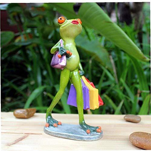 Resina Lady Frog Estatuas Creativas Figuras de Rana Figuras de Rana de Compras Esculturas abstractas Decoración del hogar Adorno de Oficina en casa