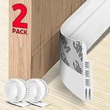 Holikme 2 Pack Door Draft Stopper Under Door Draft Blocker Insulator Door Sweep Weather Stripping Noise Stopper Strong Adhesive 38' Length(White)