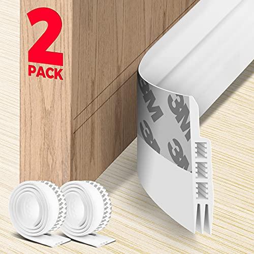 Holikme 2 Pack Door Draft Stopper Under Door Draft Blocker Insulator Door Sweep Weather Stripping Noise Stopper Strong Adhesive 38