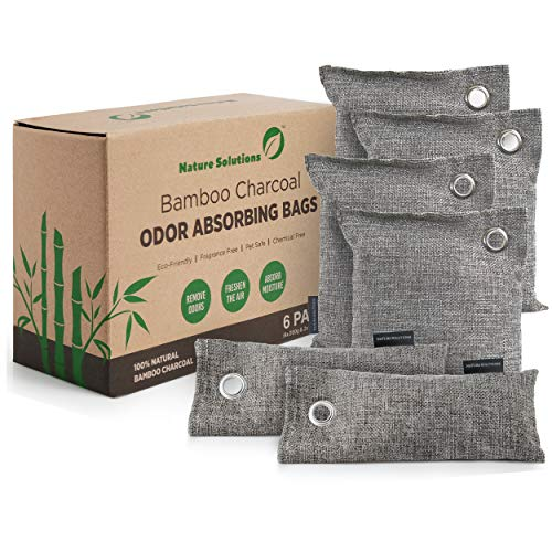 Bamboo Charcoal Air Purifying Bags (6 Pack) | Natural Charcoal Odor Absorber for Home and Car | Kid and Pet Friendly Air Freshener | Activated Charcoal Air Purifying Bags (4x200g and 2x75g)