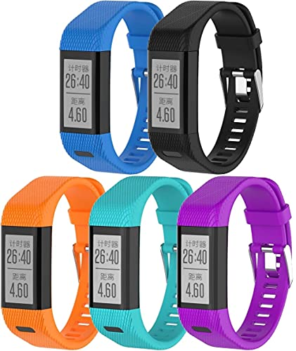 Chainfo Silikon Uhrenarmband kompatibel mit Garmin Vivosmart HR+ Plus/Approach X10 / Approach X40, Ersatzarmband Sportarmband Uhr Zubehör (5-Pack G)