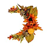 ECOSWAY Corona otoñal con hojas de arce, calabaza, flores de sol, corona de luna, para Halloween, día de Acción de Gracias, decoración del hogar