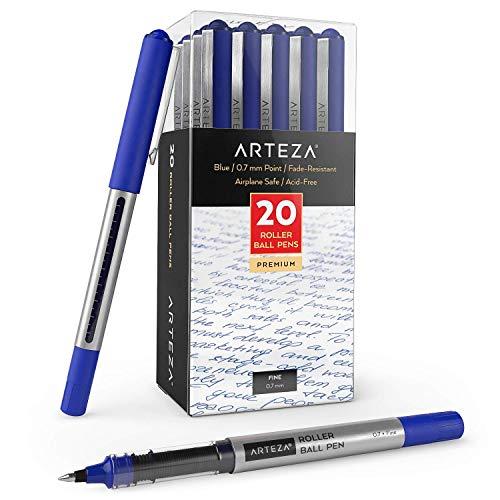 Arteza Bolígrafos de tinta de gel | Paquete de 20 | Color azul | Punta fina de 0,7 mm | Bolígrafos de gel para escritura, tomar notas, diarios personales y dibujo