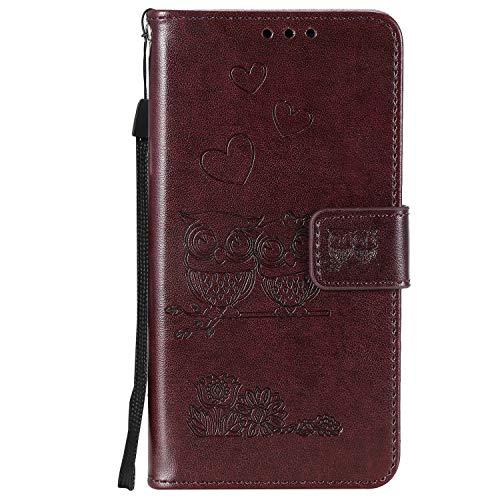 Tosim iPhone XS/iPhone X Hülle Leder, Klapphülle mit Kartenfach Brieftasche Lederhülle Stossfest Handy Hülle Klappbar für Apple iPhone XS/X - TOHHA100318 Brown