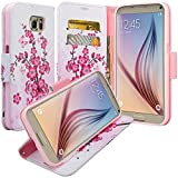 GW Cases Compatible for Samsung Galaxy S6 Edge Plus Case - Magnetic Leather Folio Flip Book Wallet Pouch Case Cover with Fold Up Kickstand and Detachable Wrist Strap - Lotus Flower