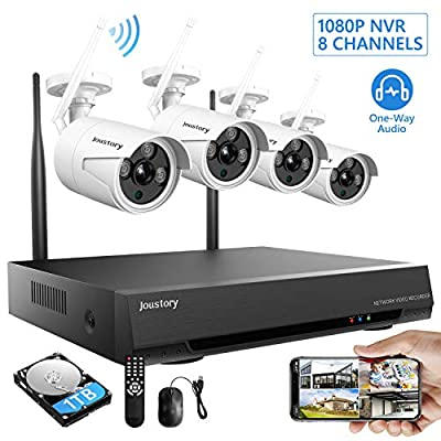 Wireless Home Security Camera System, Joustory 8CH 1080P HD Wi-Fi NVR Kits with 4pcs 2.0MP Cameras Outdoor & Indoor with 100ft Night Vision, IP66 Waterproof, 1TB HDD, Audio & Video, Plug & Play