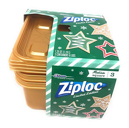 Ziploc Limited Edition Holiday Square 1.25 Quart Containers (Pack of 3) (Gold)