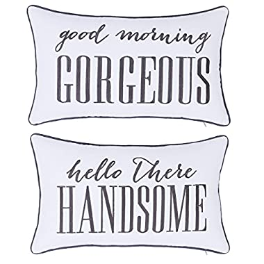 ADecor Pillow Covers Hello Handsome Good Morning Gorgeous Set of 2 pcs Pillowcase Embroidered Pillow Cover Anniversary Decorative Pillow Standard Cushion Cover Gift Love Couple Wedding (12X20, Ivory)